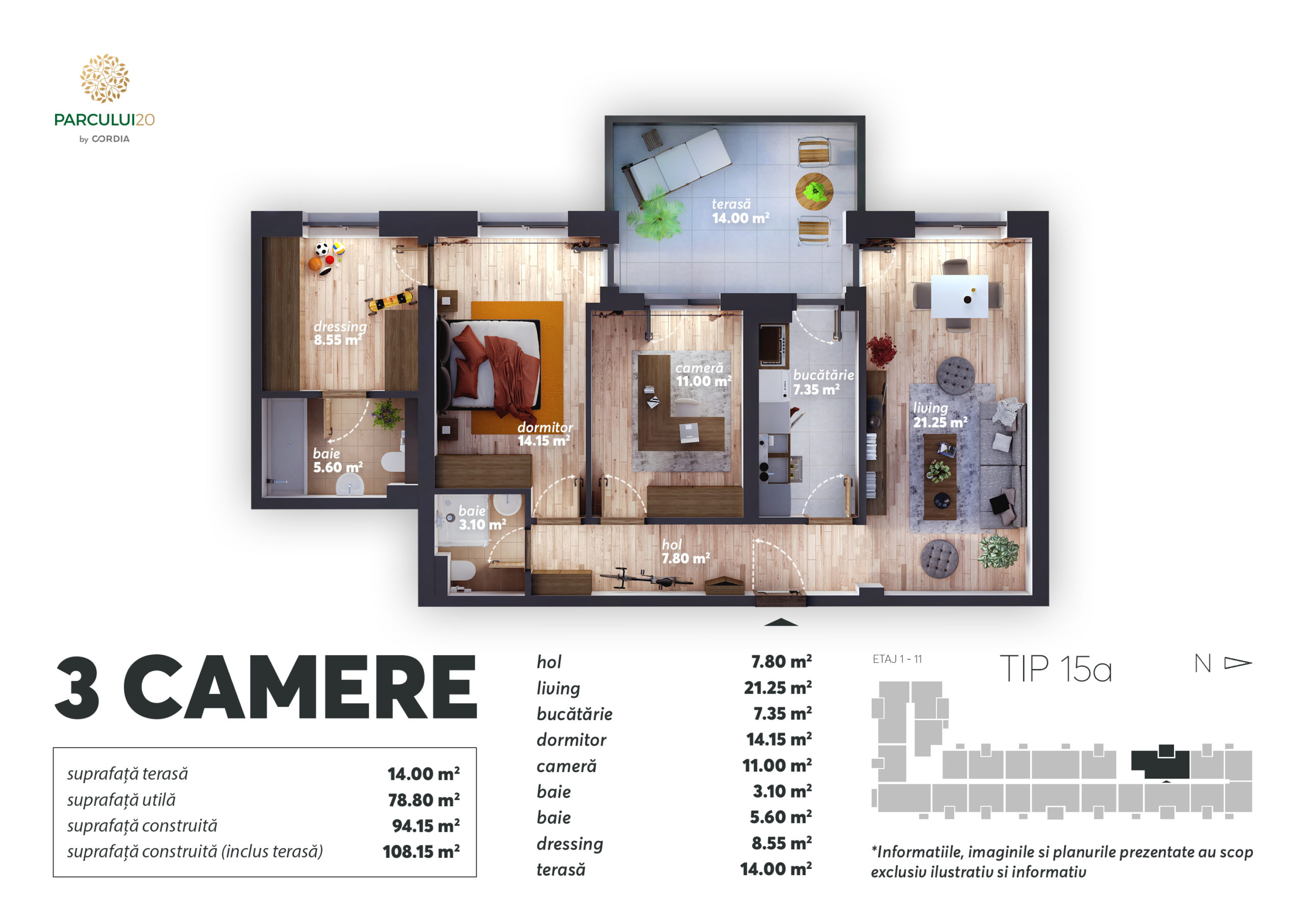 Three-room apartment Parcului20