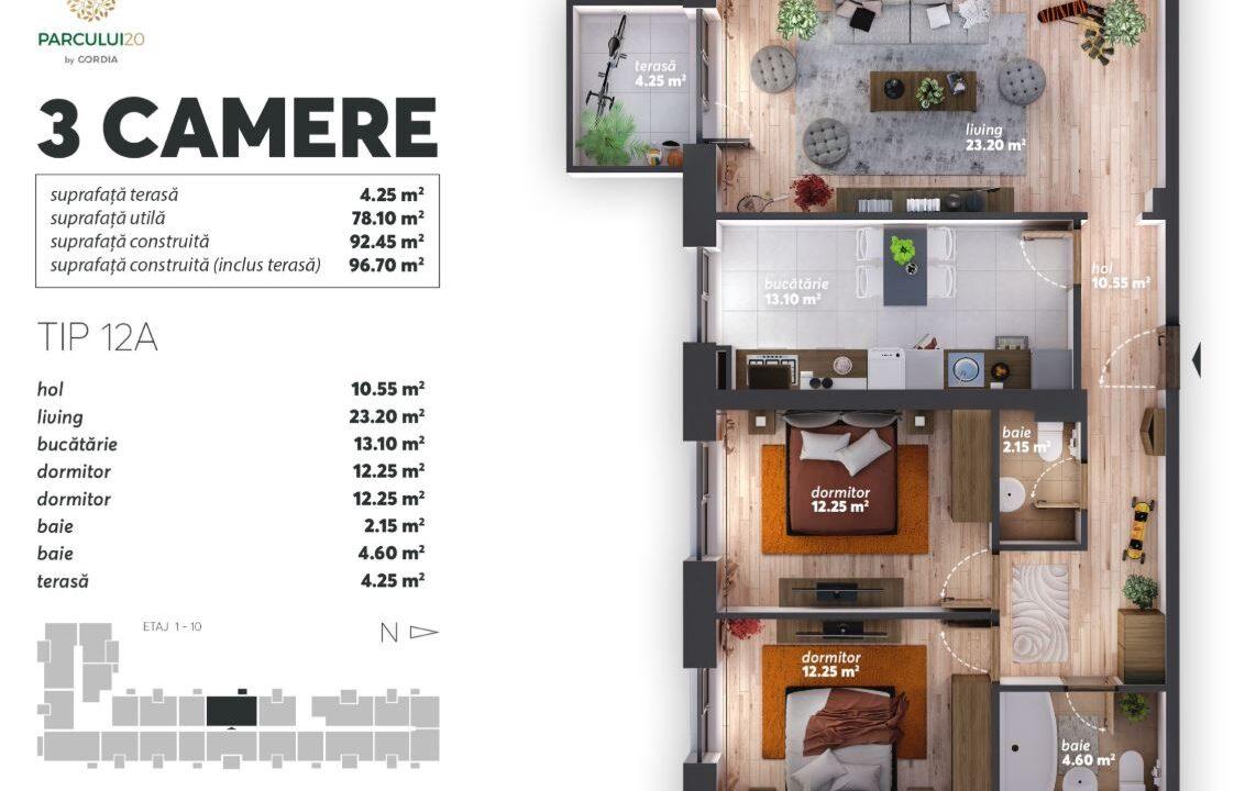 OFERTA LUNII SEPTEMBRIE: Apartament cu trei camere cu terasă, la un preț special de 138.900 euro + 19% TVA